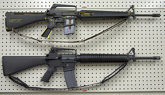 "Stock (firearms) - M16A1 cutaway rifle (top) and M16A2 (below) with a ""straight-line"" stock configuration"