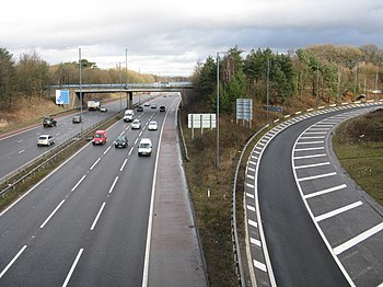 M56 At Junction 5 as traffic heads south