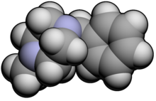 Space-filling model of the methylbenzylpiperazine molecule