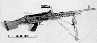 M249 light machine gun - Initial Belgian-designed Minimi prototype delivered to the U.S. Infantry Board for evaluation, before it received its XM249 designation (note the difference)