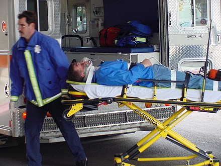 A patient arriving at hospital MS1 on stretcher.jpg