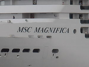 MSC Magnifica Name Tallinn 1 August 2012.JPG