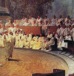 painting of a man standing in robes in the center of an arena, with dozens of men in white robes seated in the audience