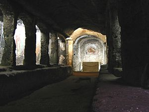 Sutri - Interior of the Madonna del Parto cave church