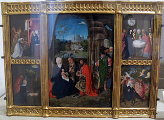 Altarpiece showing scenes from the Infancy of Christ: The Adoration of the Magi [center]; The Annunciation; The Presentation of Christ in the Temple; The Flight into Egypt; The Nativity [clockwise from upper left]