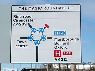 Road signs in the United Kingdom - A sign at the Magic Roundabout in Swindon incorporating mini-roundabouts into signage. (The correct method, introduced in the 1994 TSRGD, is to use a black disc with a central white dot for each mini-roundabout.) This peculiarity is common in Wiltshire.