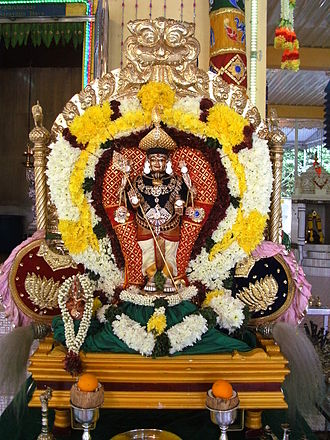 Sri Mahamariamman Temple, Penang - The panchaloka deity of Lord Subramaniyaswami before the procession for Chithra Pournami festival
