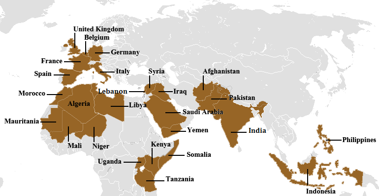 Main countries of activity of Al-Qaeda