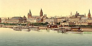 Port of Mainz - Excursion riverboats in the early 20th century.