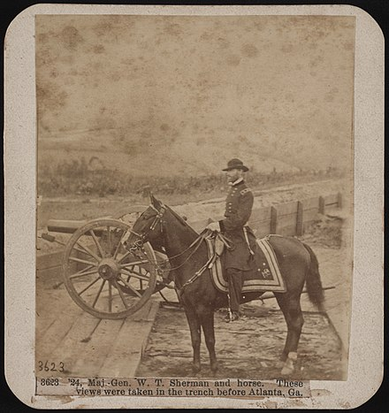 """Gen. W.T. Sherman and horse. These views were taken in the trench before Atlanta, Ga."" From the Liljenquist Family Collection of Civil War Photographs, Prints and Photographs Division, Library of Congress. Photograph by Mathew Brady Maj.-Gen. W.T. Sherman and horse. These views were taken in the trench before Atlanta, Ga. LCCN2017660644.jpg"