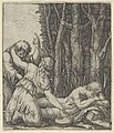 Man sleeping at the edge of a wood with a woman knealing at his side with one hand on a pot and the other on the shoulder of an old man who gestures with left hand towards the sky MET DP855128.jpg