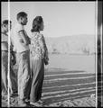 Manzanar Relocation Center, Manzanar, California. Evacuees watching a ball game late in the afterno . . . - NARA - 537988.tif