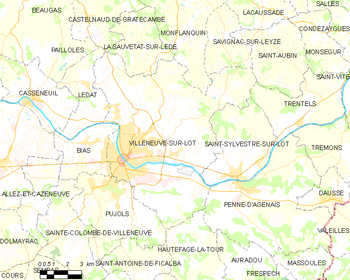 Map of the commune of Villeneuve-sur-Lot