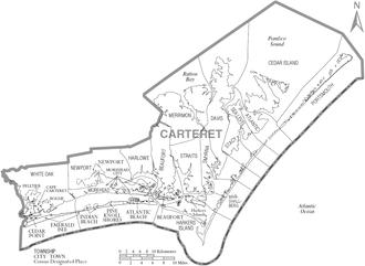 Carteret County, North Carolina - Map of Carteret County, North Carolina With Municipal and Township Labels