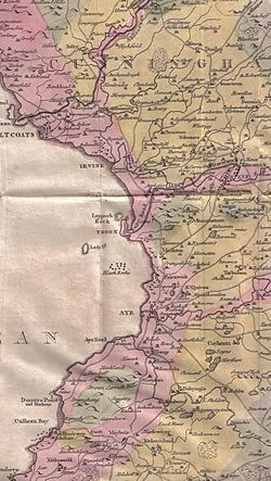 William Aiton's map of Ayrshire showing 'Gifford'[1]