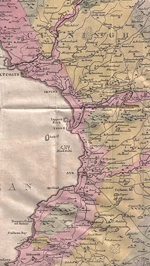 Monkton, Ayrshire - William Aiton's 1811 map showing Monkton.
