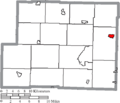 Map of Harrison County Ohio Highlighting Hopedale Village.png