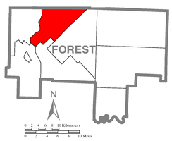 Map of Forest County, Pennsylvania highlighting Hickory Township