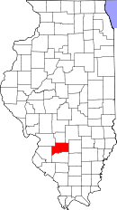 Kart over Illinois med Clinton County uthevet