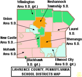 Lawrence County, Pennsylvania - Map of Lawrence County, Pennsylvania Public School Districts