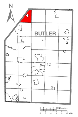 Map of Butler County, Pennsylvania highlighting Mercer Township