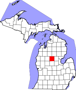 map of Michigan highlighting Clare County