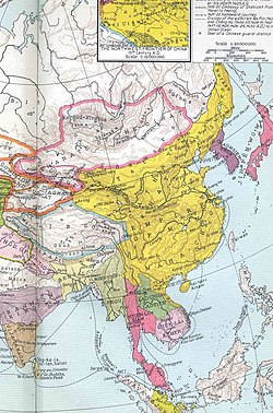The country shown in yellow in the middle of this map is Ming dynasty of China. The country shown in pink on the right of this map is Japan. The country shown in purple between Ming dynasty of China and Japan is Joseon dynasty of Korea.