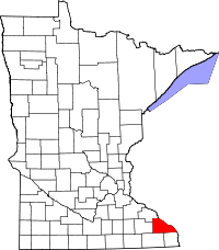 Map of Minnesota highlighting Winona County