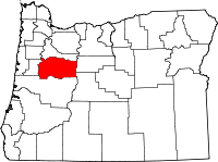 Map of Oregon highlighting Linn County