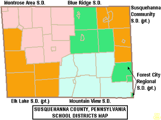 Susquehanna County, Pennsylvania - Map of Susquehanna County, Pennsylvania School Districts