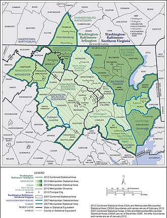 Baltimore–Washington metropolitan area - Map of the current OMB-designated Washington-Baltimore-Arlington, DC-MD-VA-WV-PA Combined Statistical Area.