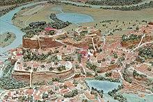 38cdd757120c8e Maquette de Rome au début de la République, au centre la dépression du forum  et à gauche le Capitole avec le temple de Jupiter, musée de la Civilisation  ...