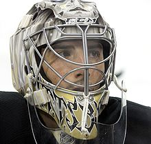 Photograph of goaltender Marc-Andre Fleury waering his face mask