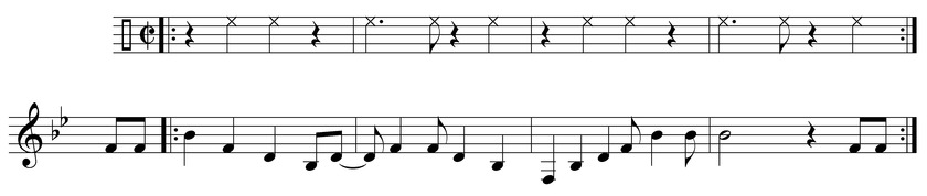 "Piano excerpt from the rumba boogie ""Mardi Gras in New Orleans"" (1949) by Professor Longhair. 2-3 claves are written above for rhythmic reference. Mardi gras in new orleans.tif"