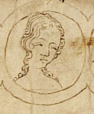 Margaret of England, Duchess of Brabant - Depiction of Margaret on the family tree. Her sister Mary of Woodstock was a nun; she can be seen at the right.