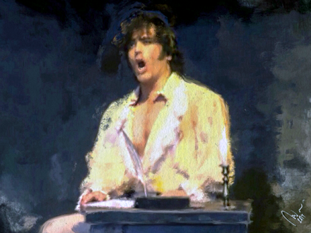 "Mario Cavaradossi (modelled on tenor Giancarlo Monsalve) singing ""E lucevan le stelle"" in a painting by Riccardo Manci Mario cavaradossi, Opera Tosca, Giacomo Puccini. Inspired by the tenor Giancarlo Monsalve..png"