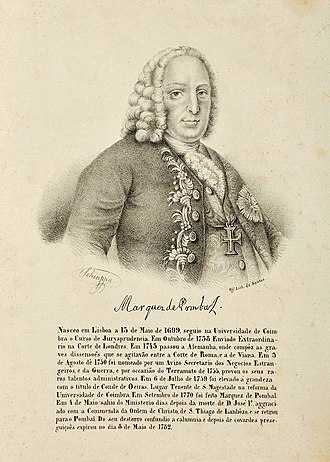 """Francisco Xavier de Mendonça Furtado - António Onofre Schiappa Pietra (1796–18??). Marquis of Pombal. Engraving based on a pencil on paper portrait signed by the artist. The inscription """"Off. Lith. de Santos"""" is taken to indicate the lithographer as being Pedro António José dos Santos about whom information is scant. Approximate date 1843–1846."""