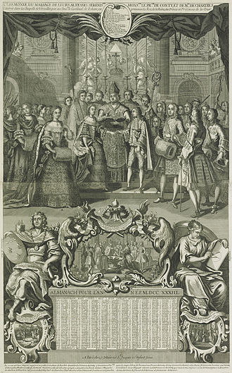 Louise Diane d'Orléans - Engraving of The Marriage of the Prince of Conti and Mademoiselle de Chartres at Versailles, 1732