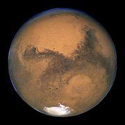 Mars gezegeninin, 23 Ağustos 2003'te, Hubble Uzay Teleskobu tarafından çekilmiş resmi