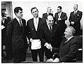 Massachusetts Senator Edward Kennedy, Massachusetts Governor Endicott Peabody, unidentified man, and Mayor John F. Collins (10290596266).jpg