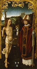 Master of the Virgo inter Virgines - Saint Sebastian and a Bishop Saint - Walters 37299.jpg