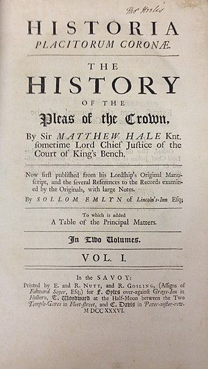 Matthew Hale (jurist) - The title page of volume I of the first edition of Historia Placitorum Coronae (1736)