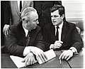 Mayor John F. Collins and Massachusetts Senator Edward Kennedy (11071886465).jpg