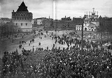 La dimostrazione di soldati e lavoratori dell'Annunciazione piazza a Nižnij Novgorod