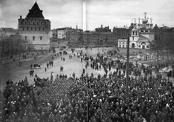 Kundgebung der Arbeiter- und Soldatenräte auf dem Verkündigungsplatz in Nischni Nowgorod, Oktober 1917