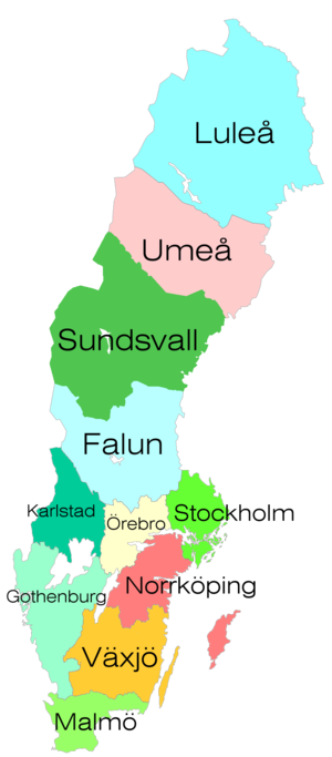 Voting at Melodifestivalen - SVT has eleven news districts,  each of which was represented by a jury in the final of Melodifestivalen from 1974-2009.