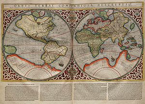 16th century - This world map by the Italian Amerigo Vespucci and Belgian Gerardus Mercator besides the classical continents Europe, Africa and Asia shows the Americas as America sive India Nova, New Guinea and other islands of Southeast Asia as well as a hypothetical Arctic continent (which was purported to have been discovered by Admiral Richard E. Byrd in 1947)  and a yet undetermined Terra Australis.