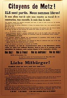 Affiche De La Proclamation Libration Metz 20 Novembre 1944