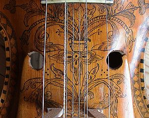 Sympathetic string - Hardanger fiddle, showing sympathetic strings underneath playing strings