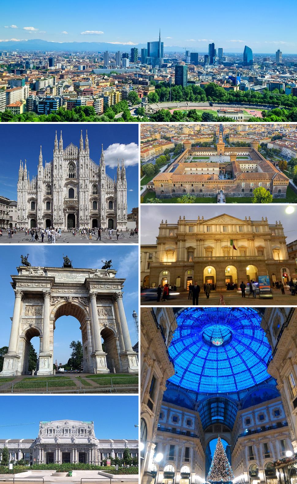Clockwise from top: Porta Nuova, Sforza Castle, La Scala, Galleria Vittorio Emanuele II, Milano Centrale railway station, Arch of Peace and Milan Cathedral.